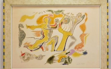 Andre Masson Orphee Surreal Abstract Aquatint