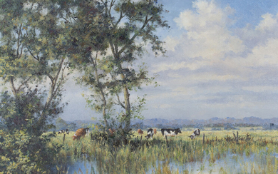 Ann P. Knowler - 'Watermeadows at Amberley', late 20th century oil on canvas, signed recto