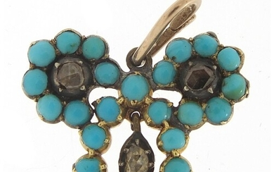 Antique unmarked gold, turquoise and diamond pendant, 2.5cm ...