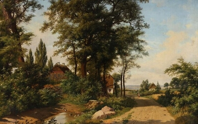 NOT SOLD. Axel Schovelin: A road winding past a duckpond and some cottages on a summer day near the coast. Signed and dated A. Schovelin 1862. Oil on canvas. 98 x 137 cm. – Bruun Rasmussen Auctioneers of Fine Art