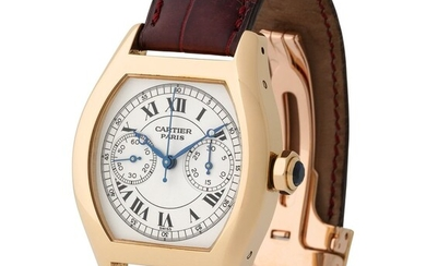Cartier. Fascinating Tonneau-shaped Single-button Chronograph Wristwatch in Yellow Gold, Reference 2356