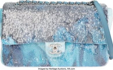 Chanel Runway Blue Sequin Waterfall Flap Bag wit