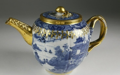 Chinese Export Teapot with Gilt Clobbering