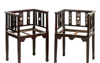 Chinese Marble Inset Carved Wooden Arm Chairs PAIR