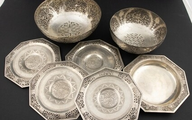 Chinese export silver: four octagonal dishes with openworked rim, a...