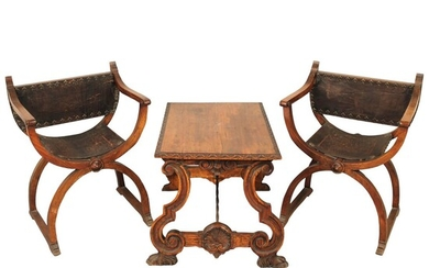 DUE POLTRONE ED UN TAVOLINO-TWO ARMCHAIRS AND A SMALL TABLE