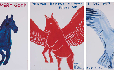 David Shrigley (b.1968) Three posters (Life is Very Good, People Expect So Much From Me, I Did Not Ask To Be a Bird)