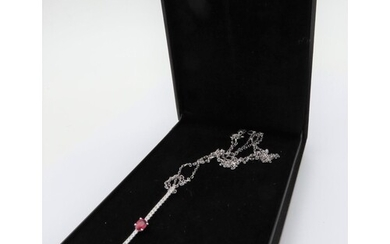 Diamond and Ruby Ladies Pendant Necklace Mounted on 18 Carat...
