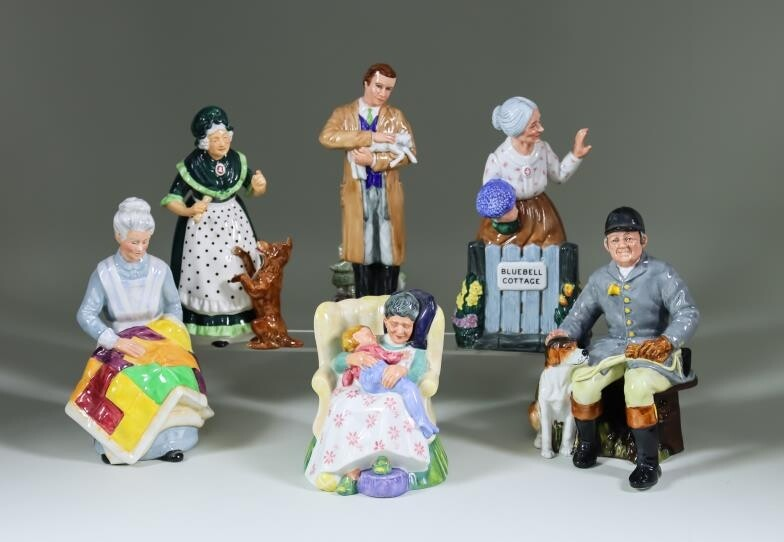 """Eleven Royal Doulton Pottery Figures, including - """"Country Veterinary""""..."""