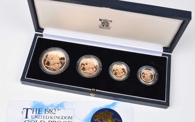 Elizabeth II, United Kingdom, 1982, Gold Proof Four Coin Collection, Royal Mint.