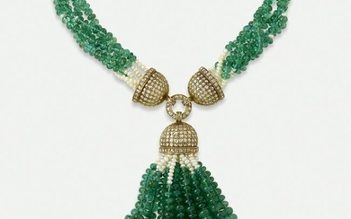 Emerald bead and cultured pearl tassel necklace