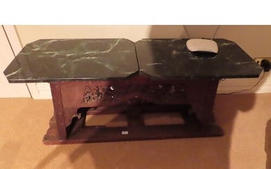 Far Eastern carved oak table base with two pieces of green f...