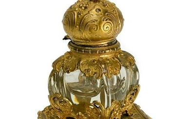 French Glass and Gilt Bronze Inkwell Gold, circa 1900