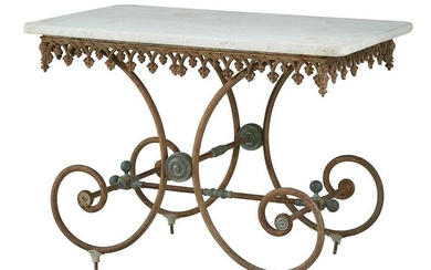 French Iron, Brass and Marble-Top Baker's Table