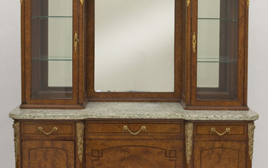 French marble top vitrine on cabinet