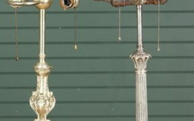Group of 2 Neoclassical Silver Plated Table lamps