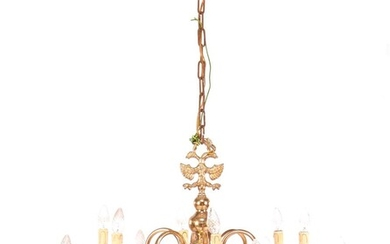 (-), Dutch copper hanging lamp with 2 rows...