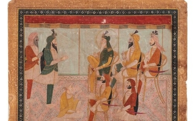 Indian School 19/20th century: an audience in an interior, s...