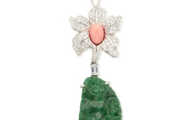 Jadeite, Conch Pearl and Diamond Necklace