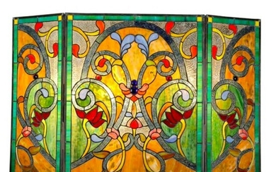 Jeweled Stained Art Glass Fireplace Screen