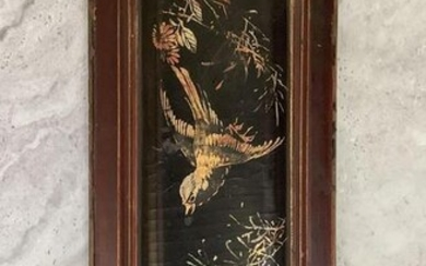 Lacquered Carved Wood Plaque