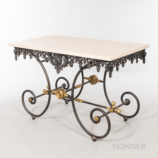 Marble-top and Iron Table