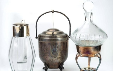 Mid C Silver Plate & Glass Table Items: Decanter