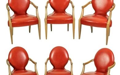 Modern Maple Wood Coral Leather Dining Arm Chairs