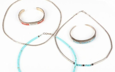 Native American Indian 5pc sterling silver: W.J.