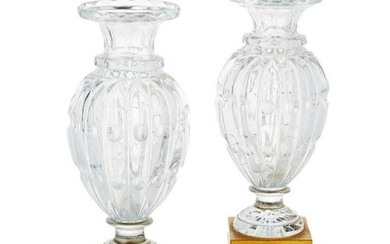 PAIR OF GILT BRONZE MOUNTED BACCARAT GLASS VASES LATE 19TH/ ...