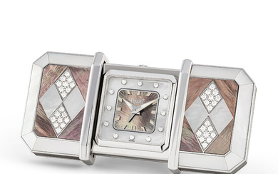 PIAGET, WHITE GOLD, DIAMOND-SET AND MOTHER-OF-PEARL ALARM DESK CLOCK