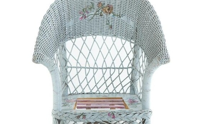 Painted & Decorated Wicker Childs Rocker