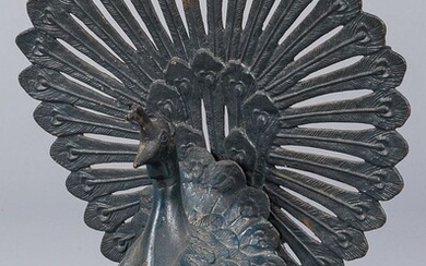 Painted cast iron peacock, early 20th c.