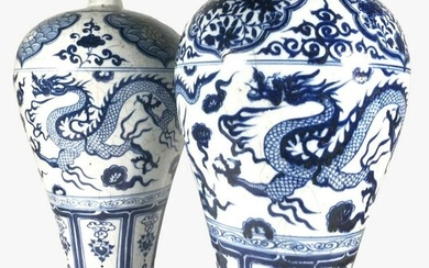 Pair Of Chinese Blue & White Meiping Vases