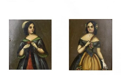 Pair of 18/19th C Oil on Tin Paintings