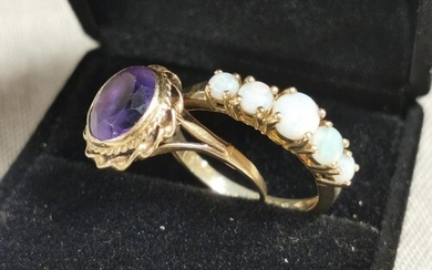 Pair of 9ct Gold Ameythst & Mother of Pearl Ladies Rings