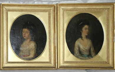 Portraits of Young Women, Oil on Board