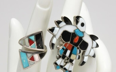 TWO VINTAGE INLAID SILVER ZUNI RINGS.