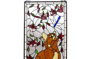 Tiffany Style Stained Glass Cat With Dragonfly Window