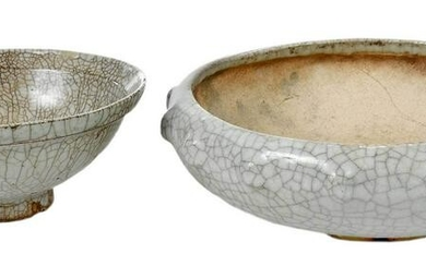 Two Chinese Celadon Crackle Glazed Bowls