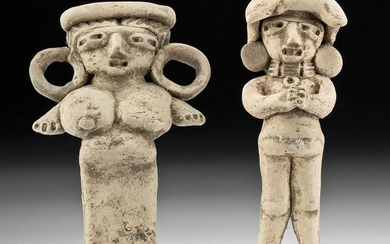 Two Michoacan Pottery Standing Pretty Lady Figures