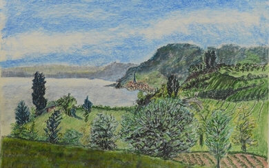 """Two views of Lake Constance, """"Blick auf die Höri"""", signed on the left, chalk on paper, and """"Überlin"""