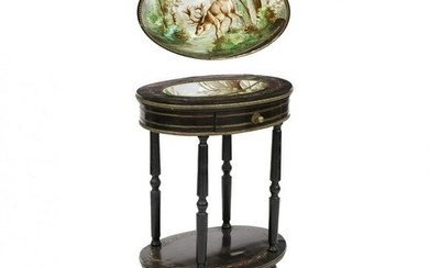 Victorian Ebonized and Inlaid Stand with Inset