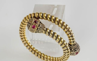 Victorian Tested 14-Karat Yellow-Gold and Ruby Bracelet, Last Quarter 19th Century