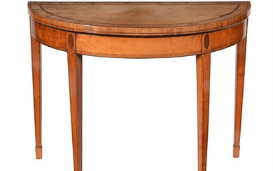 Y A George III satinwood, tulipwood crossbanded and purple heart inlaid demi-lune folding card table