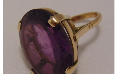 Yellow gold and amethyst dress ring, tested 9ct, approx tota...