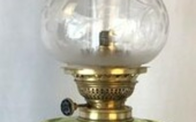 1860's Green Etched Glass Floral Baquet Lamp