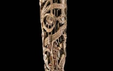 18th C. Chinese Carved Wooden Handle w/ Dragon