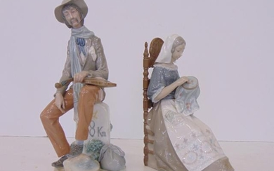 2 Lladro figures, man with violin & woman on chair with