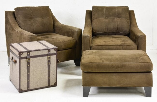 4pcs - 2 Modern Arm Chairs, Ottoman and Trunk